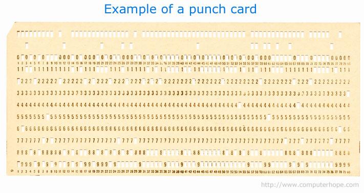 Bir delikli kart örneği. O zamanın DVD'leri gibi düşünebilirsiniz.