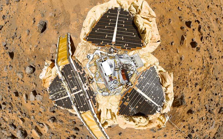 Mars Pathfinder aracı tepeden görünüm
